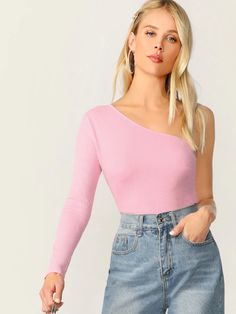 To find out about the One Shoulder Slim Fitted Tee at SHEIN, part of our latest T-Shirts ready to shop online today! Fashion News, Fashion Outfits, Latest T Shirt, Cami Crop Top, Blouse Styles, Rib Knit, Sleeve Styles, One Shoulder, Shoulder Tops