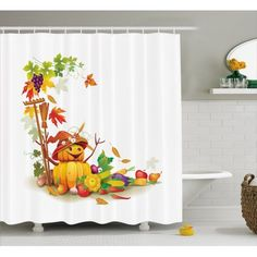 Shower Curtains and Shower Curtain Hooks Bathroom Curtains, Country Bathrooms, Bathroom Cabinets, Bathroom Sets, Fall Harvest, French Country, Diy Home Decor, Kids Thanksgiving, Clip Art