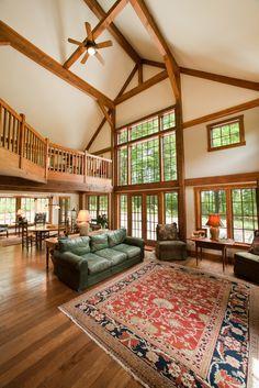 Timber Frame Prefab Panelized Farmhouse Great Room, The Sawyer Barn House. Click thru for fl plns & pics. #barnhouses #timberframe #postandbeamhomes
