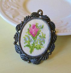 Flower Cross Stitch Vintage Brooch Pendant The by RadiantDays, $17.00