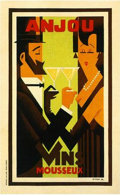 Anjou Vins Champagne Advertisement Art Poster Print