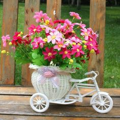 Cheap artificiale, Buy Directly from China Suppliers:White Tricycle Bike Design Flower Basket Storage Container DIY Party Weddding casamento Decoration Supplies Flores Artificiales Balcony Flower Box, Flower Boxes, Flower Baskets, Diy Storage Containers, Storage Baskets, Stage Decorations, Flower Decorations, Tricycle Bike, Decoration Design