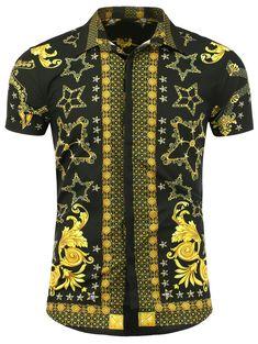 Patterned Turn Down Collar Short Sleeve Shirt #men, #hats, #watches, #belts, #fashion