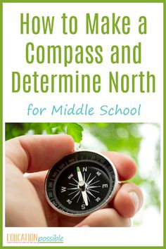 This is a great DIY project and hands-on geography activity for middle school students. Learn how to make a homemade compass and determine which direction is north. All you need is this helpful printable and a few simple materials. Add it to your geograph Hands On Geography, Middle School Geography, Education Middle School, Middle School Science, Geography Map, Elementary Science, Geography Lesson Plans, Geography Activities, Teaching Geography