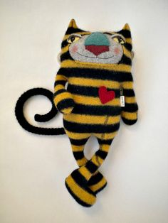 Bumble Cat Stuffed Animal from Wool Sweater by sweetpoppycat