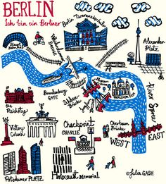 Buy Julia Gash - Berlin Unframed Print with Mount, 30 x from our Pictures range at John Lewis & Partners. Berlin Travel, Germany Travel, Cityscape Art, Wall Maps, City Maps, Map Art, Travel Posters, Travel Around The World, Planer