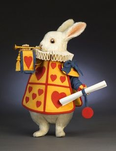 John Wright Presents: The White Rabbit - Queens Court from the Alice in Wonderland Collection - R. Alice In Wonderland Room, Adventures In Wonderland, Needle Felted Animals, Felt Animals, Needle Felting, Christopher Robin, John Wright, White Rabbits, Mad Hatter Tea