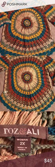 🌼Roz & Ali Crocheted 3/4 Sleeve Sweater Gorgeous NWOT Roz & Ali Crocheted 3/4 Sleeve Sweater Size 2X Roz & Ali Sweaters Crew & Scoop Necks