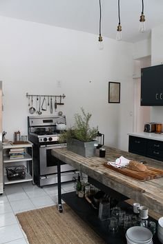 Black & white, rustic & modern kitchen.