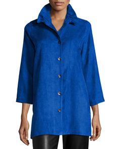 Faux-Suede Long Shirt, Women's, Cobalt - Caroline Rose