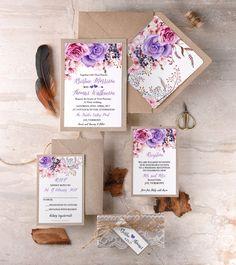 Boho Floral Wedding Invitation with Lace #4lovepolkadots