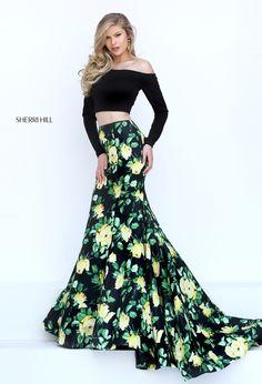 d9fda1495007 Sherri HIll 2-piece long sleeve prom dress black and yellow print - Prom  Dresses
