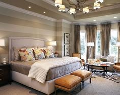 Striped Bedroom Accent Walls With Cream Striped Wall Decor