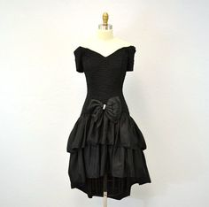 1980s cocktail dress / black ruffled tiered / off by IngridIceland, $45.00
