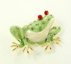 Green Frog Brooch Rhinestone.