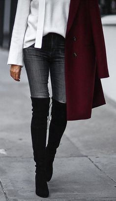 #fall #shoes Grey Skinny Jeans // Black Over The Knee Boots
