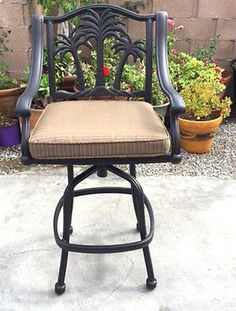 Perfect Outdoor Patio Bar Stool Palm Tree Barstools Cast Aluminum Desert Bronze