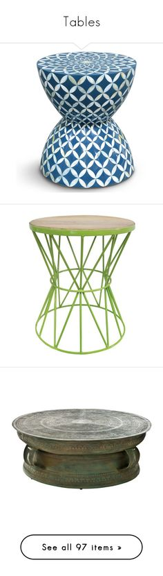 """""""Tables"""" by angie-dean-finley on Polyvore featuring home, furniture, tables, accent tables, inlay furniture, floral furniture, handcrafted furniture, mosaic side table, blue and white furniture and green furniture"""