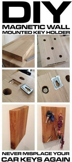 Wooden wall mounted magnetic car keys holder