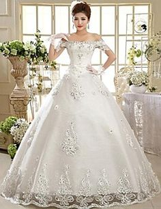 Ball Gown Floor-length Wedding Dress -Off-the-shoulder Lace