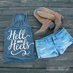 """Adorable country girl racerback tank top """"Hell on Heels"""" the perfect country concert tank top."""