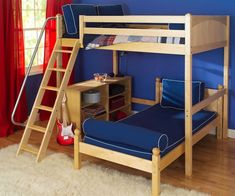 Maxtrix Kids L-Shape Loft Bunk Bed | Teen Loft Bed in Twin and Full with lower bed| Maxtrix Childrens Loft Bunk Beds