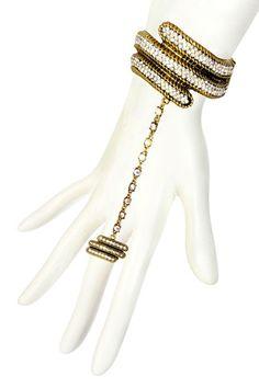 Riana Bracelet & Stretch Ring Combo by Bansri on @HauteLook