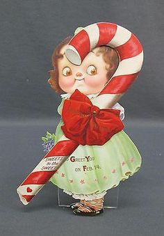 Old German Valentines Day Valentine Greetings Sweets to the SWEET Candy Cane Googly Eye Girl