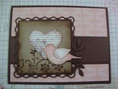 Love the Pink & Brown darn stampin up bird punch again.  I keep telling myself I don't need it.....???