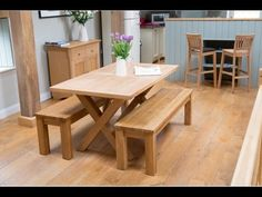 Provence 1 5m oak table & two baltic benches set