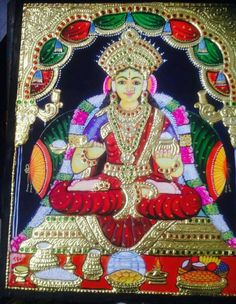 Annapoorna Tanjore Painting, Goddesses, Paintings, Beautiful, Art, Pintura, Art Background, Paint, Painting Art