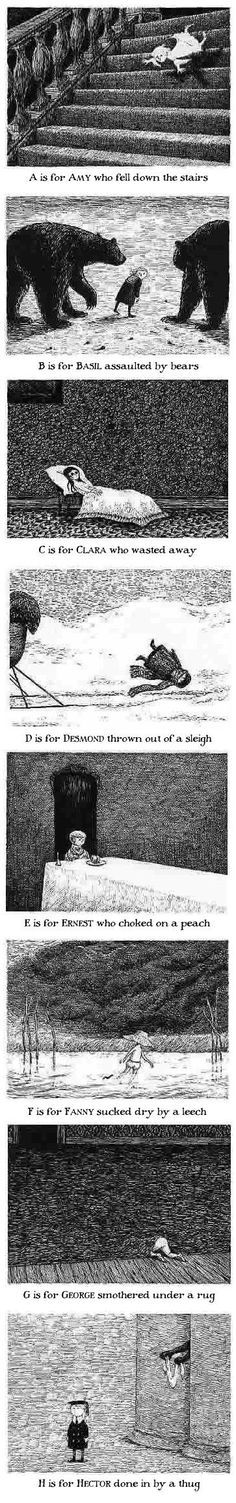 Edward Gorey The Gashlycrumb Tinies. This has echoes of The Rakes Song by The Decemberists.