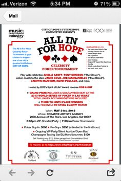 City of hope non- profit poker tournament and fundraiser by Dads poker night casino party