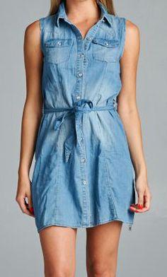 Feel the summer breeze in our belted sleeveless shirtdress. #specialajeans #shirtdress #belteddress #summerdress