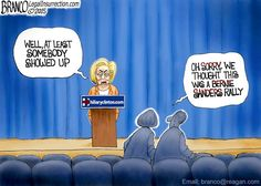 Hillary's crowds are over shadowed by the turnout for the Communist Bernie Sanders. Political Cartoon by A.F.Branco ©2015