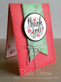 Stampinantics, A Whole Lot of Lovely, Large Polka Dot, Thank You Card, Paula Dobson