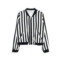 Black and off-white striped bomber jacket. XSSM.