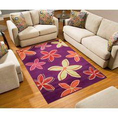 Terra Daisy Rectangle Area Rug Purple, playroom?