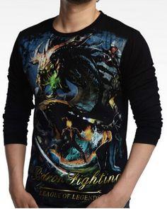 League of Legends tema do jogo algodão preto dos homens camisetas-