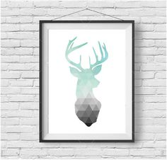 Tête de cerf de menthe menthe menthe impression Art scandinave tirage Poster scandinaves géométrique Deer Art Nursery Art menthe Home Decor Triangle Art d