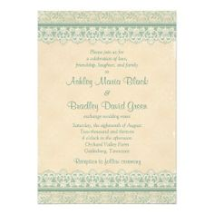 Lace Look Wedding Invitations | ... mint or sage green and ivory lace and old parchment paper look wedding