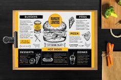 FREE! Trifold + Burger Menu Template by BarcelonaShop on @creativemarket Design Brochure, Brochure Template, Card Templates, Brochure Layout, Print Templates, Design Templates, Restaurant Menu Card, Restaurant Menu Design, Power Point Templates Free