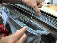 """Comment from another pinner: """"I want to learn the cast-off technique used in this video. I've never seen it described in any of the machine knitting materials I've read, but it seems to be popular with machine knitters in Europe and Russia. Starts at about 3:20.  Also, this woman is an absolutely AWESOME machine knitter! She really cranks out the goods. Clearly has been doing this for decades."""""""