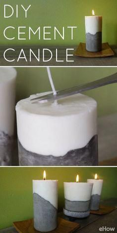 projects with cement DIY Cement Candle Tutor. projects with cement DIY Cement Candle Tutorial Use cement to create a set of modern, beautiful and elegant candles Wohnkultur Concrete Crafts, Concrete Projects, Diy Projects, Diy Candle Projects, Concrete Furniture, Craft Tutorials, Handmade Home Decor, Diy Home Decor, Handmade Pottery