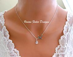 Bird Necklace CZ Teardrop Bridesmaid Gift Wedding Jewelry $34.99