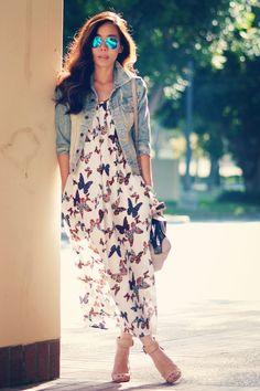 butterfly print maxi dress with denim jacket