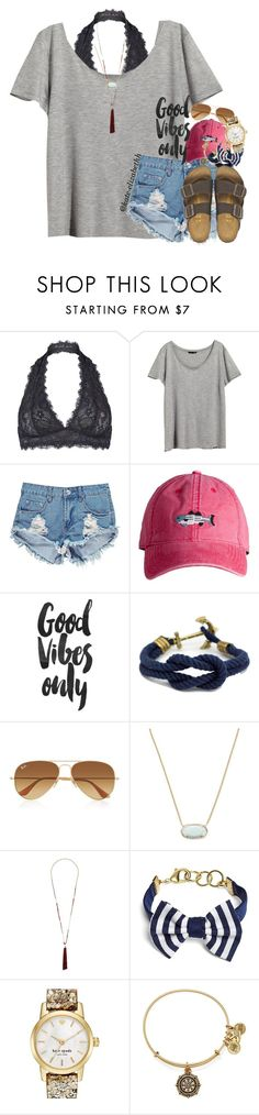 """""""Good vibes only"""" by preppy-southern-gals ❤ liked on Polyvore featuring Free People, H&M, Boohoo, Ray-Ban, Kendra Scott, Topshop, Brooks Brothers, Kate Spade, Alex and Ani and Birkenstock"""