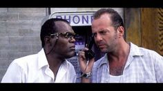 In Die Hard With a Vengeance, a bomber named Simon is terrorizing the city and John McClane (Bruce Willis) and Zeus Carver (Samuel L. Jackson) are forced to play Simon Says and accomplish devious tasks that require quick thinking and sharp puzzle skills. Bruce Willis, Emma Willis, Hard Movie, Love Movie, Movie Tv, 80s Movies, Die Hard, Movie Plot Holes, Fun Movie Facts