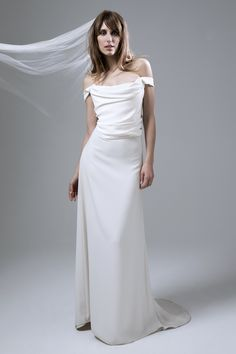 Andrea Draped Corset and Crepe Skirt Wedding Dress by Halfpenny London