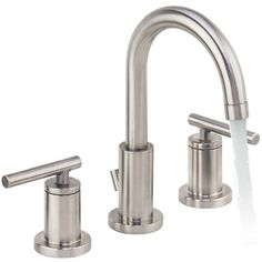Miseno Mia Widespread Bathroom Faucet with Pop-Up Drain Assembly Brushed Nickel Faucet Lavatory Widespread Contemporary Bathroom Sink Faucets, Bathroom Fixtures, Kitchen Faucet Parts, Brushed Nickel Faucet, Old Mirrors, Elegant Curtains, Widespread Bathroom Faucet, Rustic Bathrooms, Walk In Shower